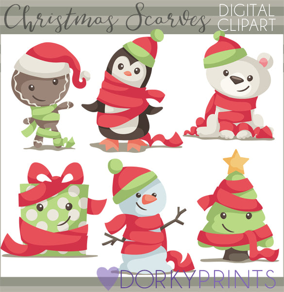 Hat and Scarf Christmas Clipart