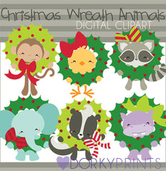 Animal Wreaths Christmas Clipart