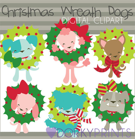 Dogs with Wreaths Christmas Clipart