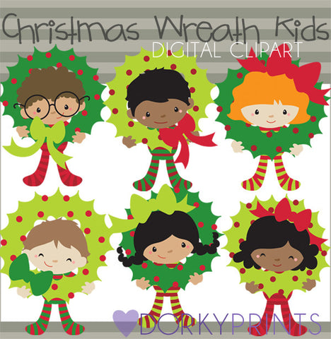 Kids with Wreaths Christmas Clipart