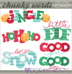 Chunky Words Christmas Clipart
