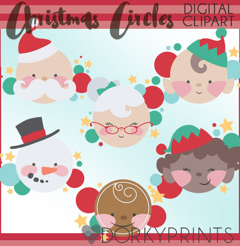 Circle Characters Christmas Clipart