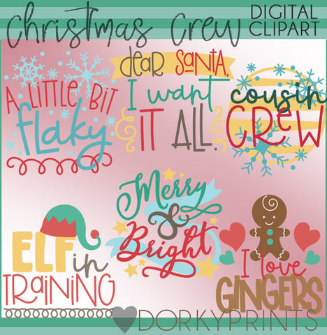Christmas Crew Wordart Christmas Clipart