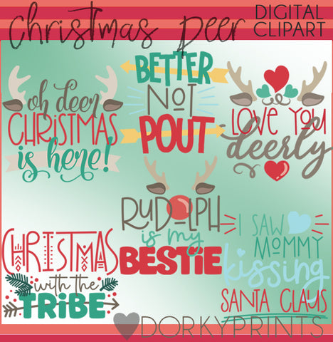 Deer Wordart Christmas Clipart