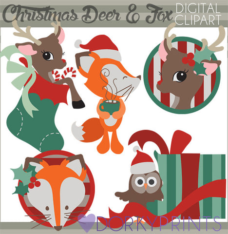 Deer and Fox Christmas Clipart