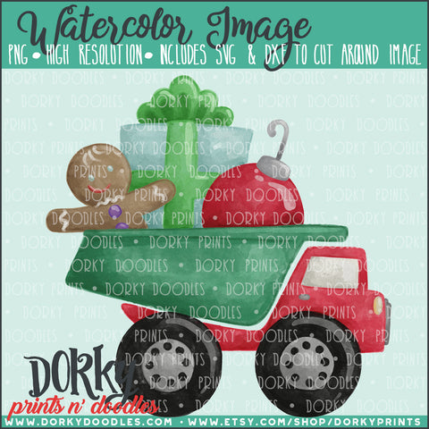 Christmas Dumptruck Watercolor PNG