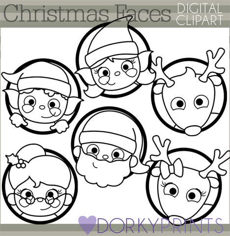 Santa Faces Black Line Christmas Clipart