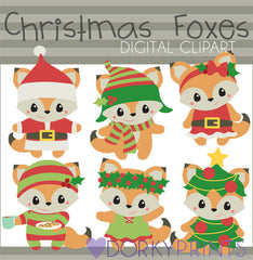 Foxes Christmas Clipart