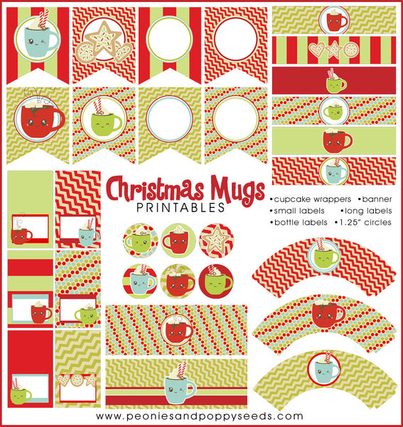 Christmas Mugs Holiday Printables