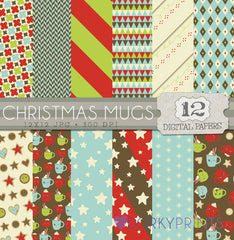 Christmas Mugs and Cookies Digital Paper Pack