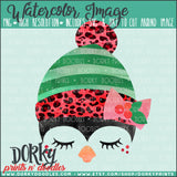 Leopard Print Christmas Penguin Watercolor PNG