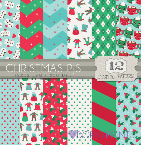 Christmas PJs Digital Paper Pack