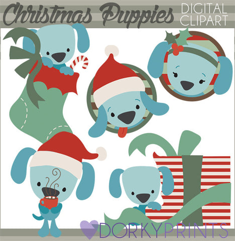 Holiday Puppies Christmas Clipart