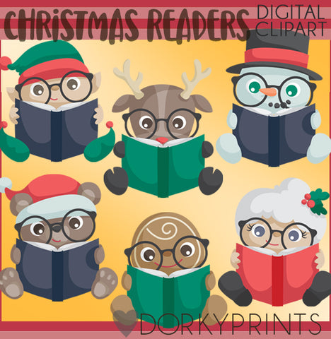 Readers in Christmas Clipart