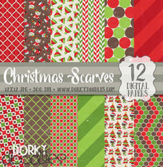 Christmas Scarves Digital Paper Pack