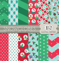 Christmas Snowglobes Digital Paper Pack