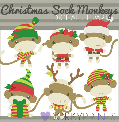 Sock Monkey Santa Christmas Clipart