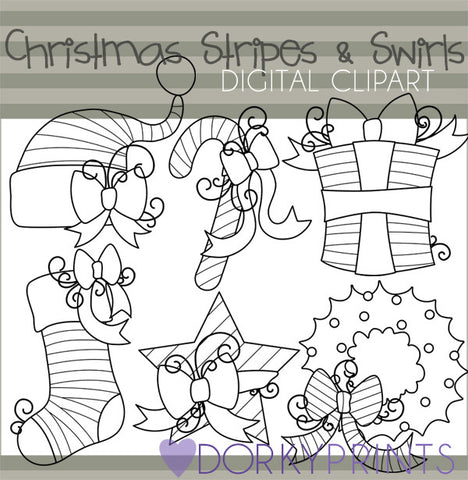 Stripes and Swirls Black Line Christmas Clipart