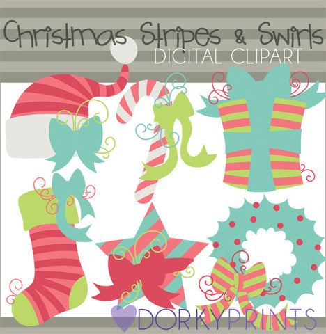 Stripes and Swirls in Pink Christmas Clipart