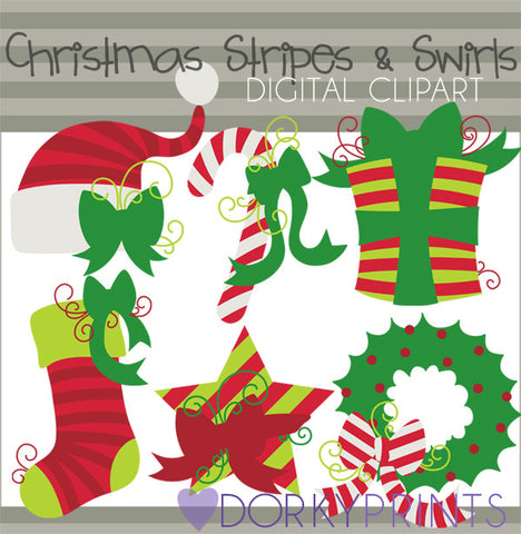Stripes and Swirls in Red Christmas Clipart