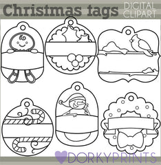 Holiday Tags 1 Black Line Christmas Clipart