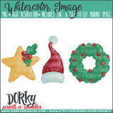 Christmas Trio Watercolor PNG