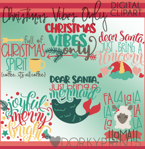 Christmas Vibes Only Wordart Christmas Clipart