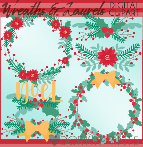Wreaths and Laurels Christmas Clipart