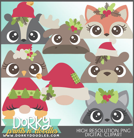 Peeking Animal Faces Christmas Clipart