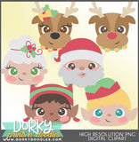 Cute Faces Christmas Clipart