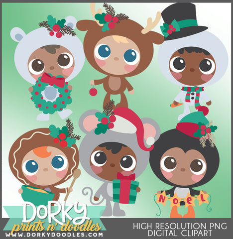 Dressed Up Kids Christmas Clipart