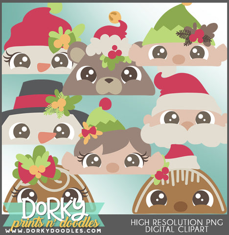 Peeking Faces Christmas Clipart