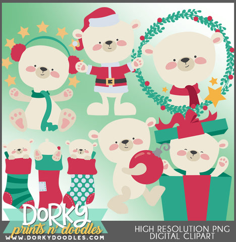 Polar Bear Christmas Clipart