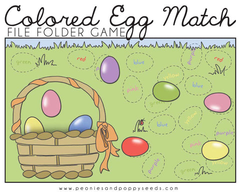 Colored Eggs Matching Game Learning Printables