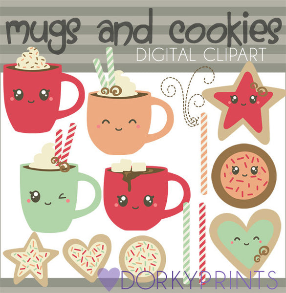 Mugs and Cookies Food Clipart