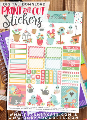 Birdhouses and Flower Print and Cut Planner Stickers