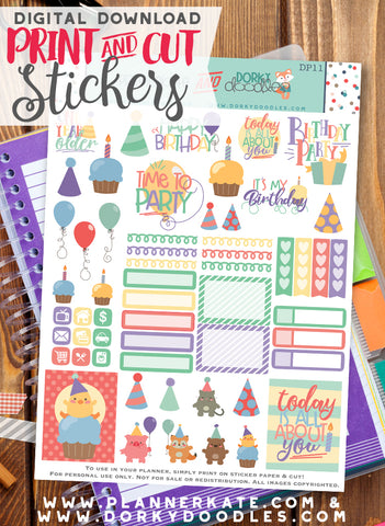 Birthday Print and Cut Planner Stickers