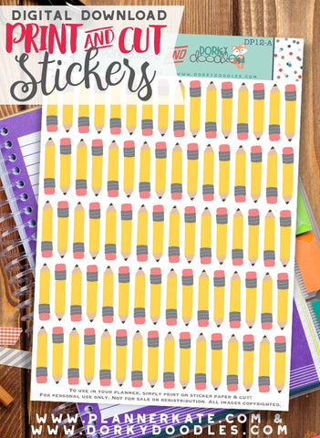 Pencil Print and Cut Planner Stickers