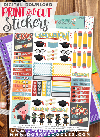 Graduation Print and Cut Planner Stickers