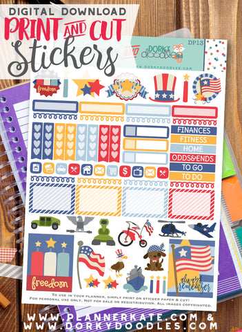 Memorial Day Print and Cut Planner Stickers