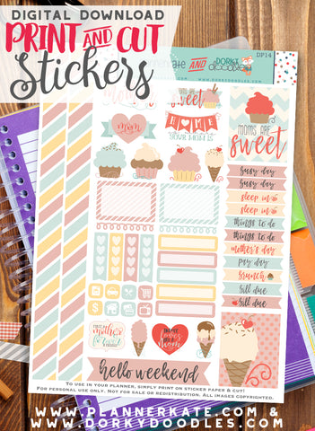 Mother's Day Print and Cut Planner Stickers