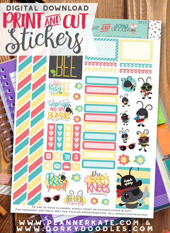 Busy Bee Print and Cut Planner Stickers