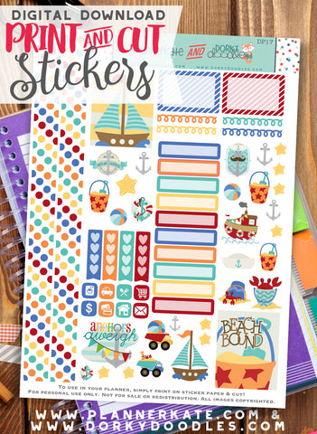 Sailing Print and Cut Planner Stickers