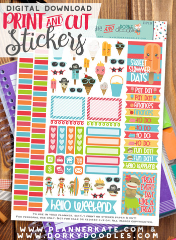 Sock Monkeys and Ice Cream Print and Cut Planner Stickers