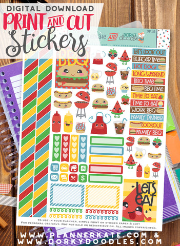 BBQ Print and Cut Planner Stickers