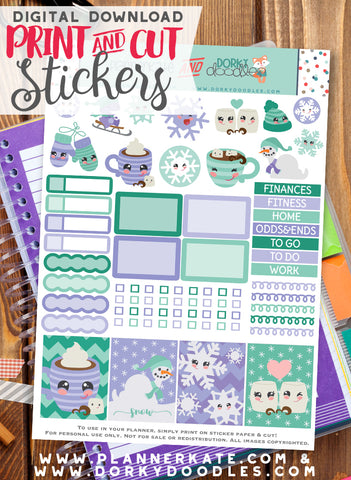 Winter Print and Cut Planner Stickers