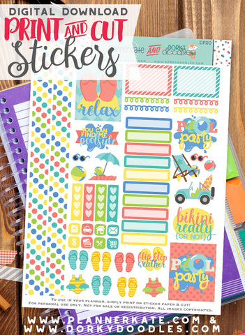 Pool Party Print and Cut Planner Stickers