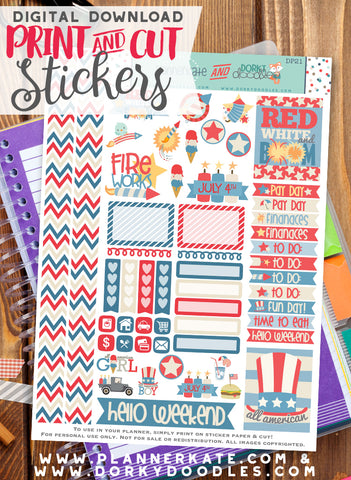 4th of July Print and Cut Planner Stickers