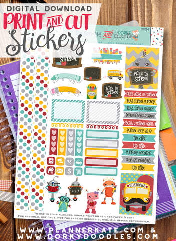Robot Back to School Print and Cut Planner Stickers