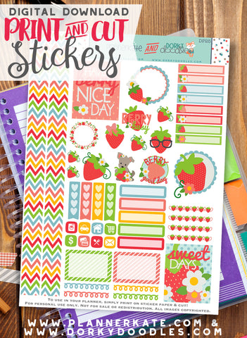 Strawberries Print and Cut Planner Stickers